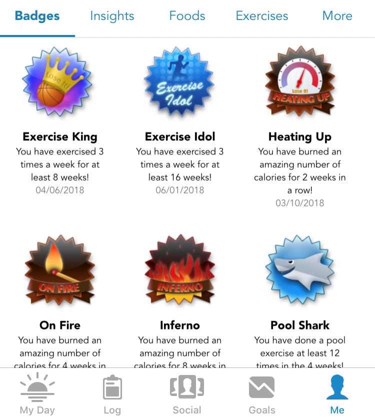 LoseIt Motivational Badges